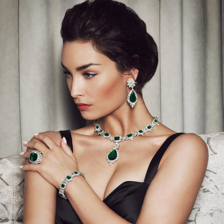 Bayco Colombian emerald necklace, earrings, bracelet and ring