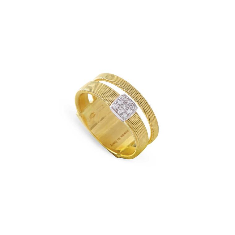 Marco Bicego two-strand Masai ring in yellow gold with diamond pave