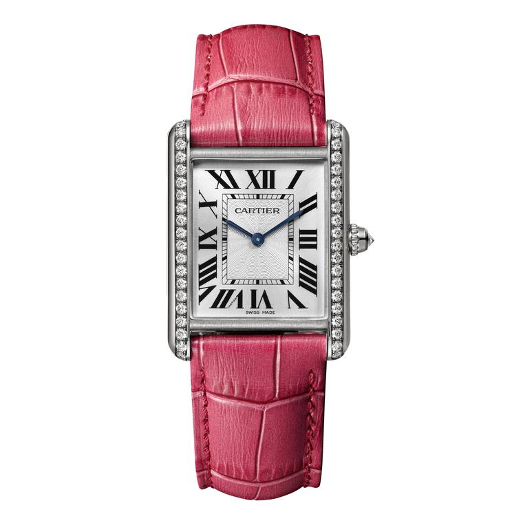 Cartier Tank Louis Cartier large white gold watch with diamonds
