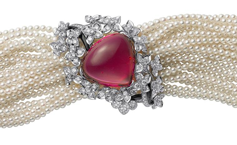 Sortilège de Cartier bracelet in platinum with a single rubellite, cultured pearls, onyx and brilliant cut diamonds.