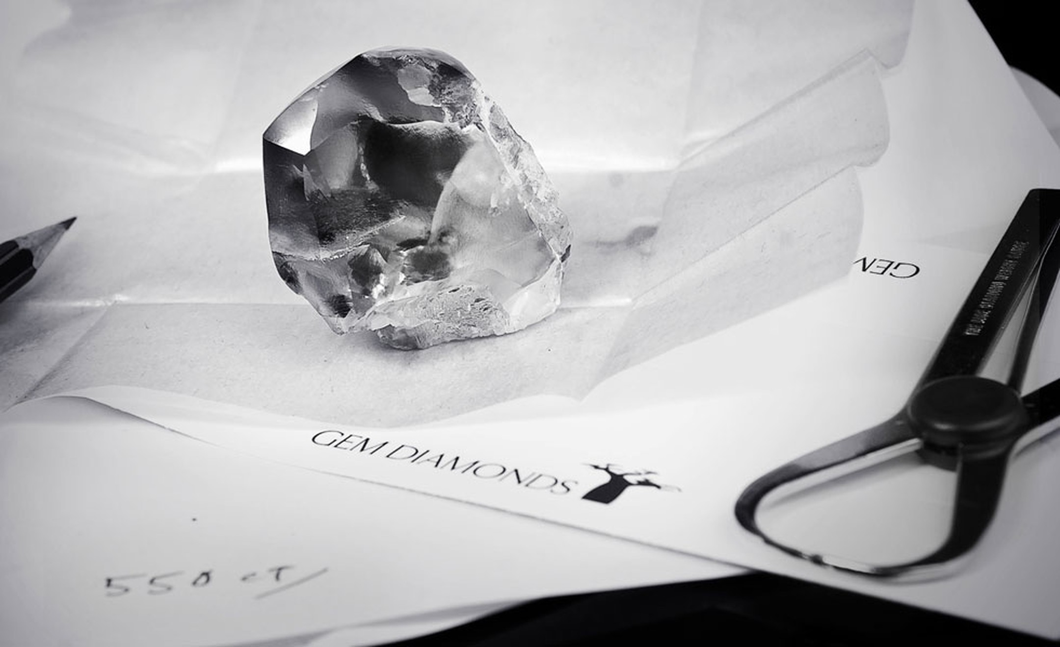 The Letseng Star 550 carat diamond shown to scale.