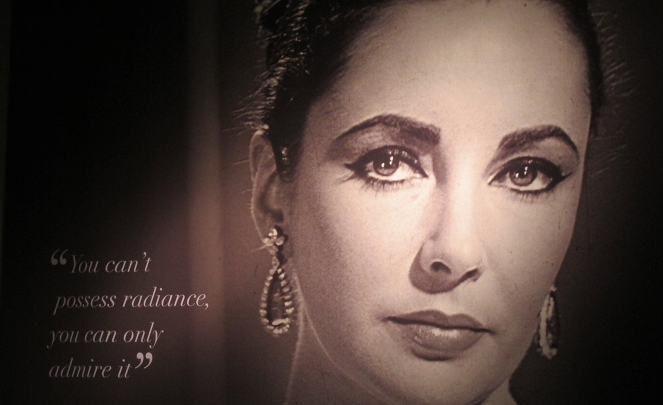 Poster of Elizabeth Taylor at the Christie's exhibition of her jewels, art and couture that is touring the world before the December sale in New York.