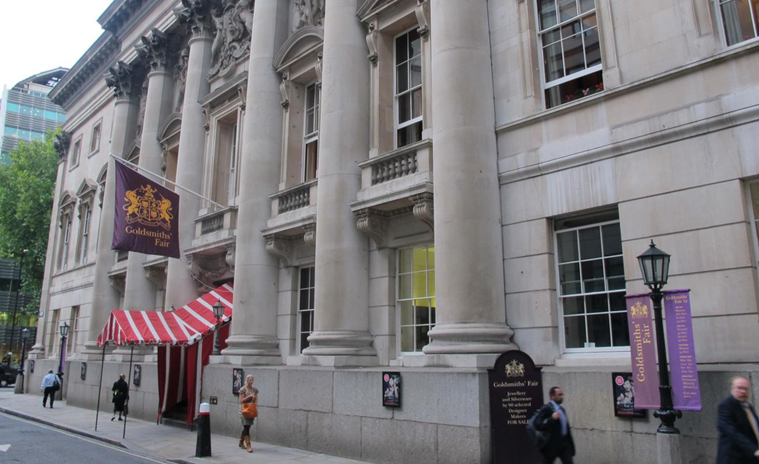 Entrance to Goldsmiths' Fair, the annual selling exhibition of UK independent jewellers and silversmiths.