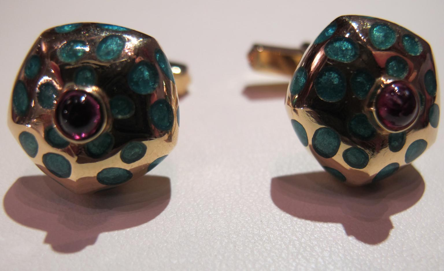 Richly coloured Fred enamel and ruby cufflinks in gold. £3,850