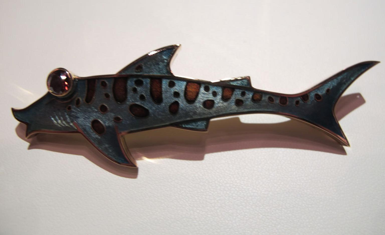 Fred Leopard Shark brooch in enamel with brown diamond eye. Something for his Christmas stocking perhaps? £8,200