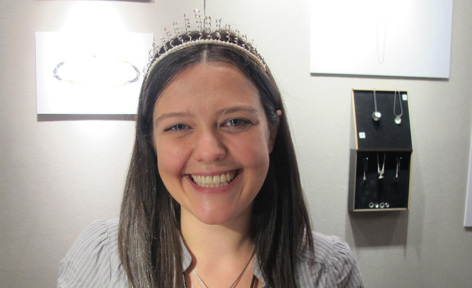 Jenny Deans shows her pretty silver and pearl bridal tiara designed for her own wedding. Yours for £600.