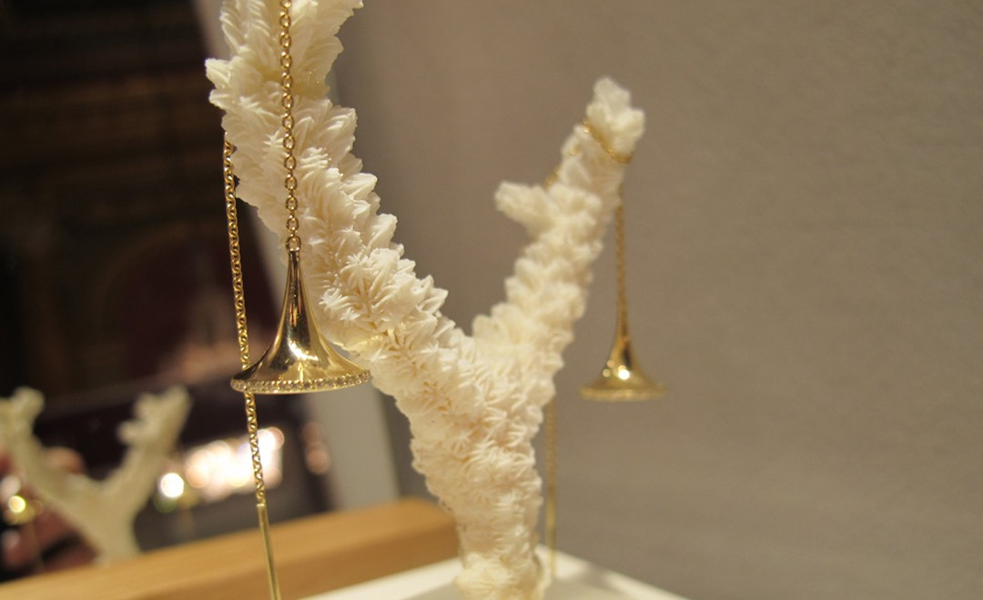 Dainty Trumpet earrings by Jessica Poole in gold with diamonds £700. Diamond free version for £160