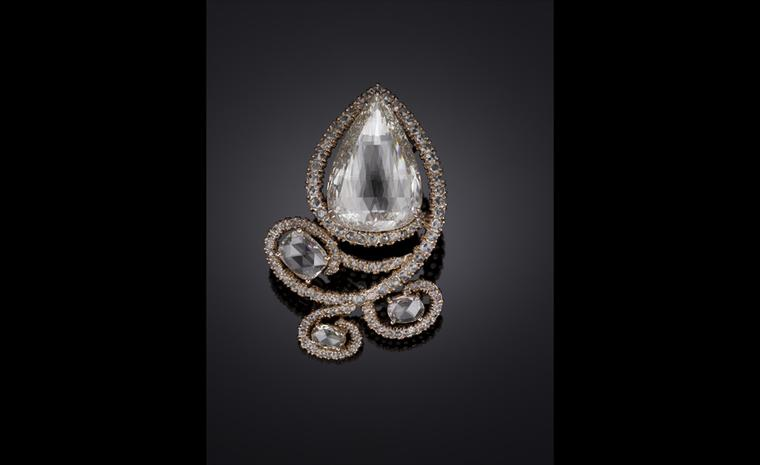 Michelle Ong. 'Supernova'. Light Brown Diamond and White Diamond Brooch in Rose Gold. POA