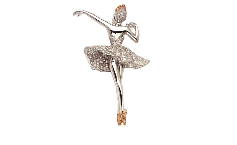 VAN CLEEF & ARPELS. Puccinella ballerina clip in white gold, round diamonds and one pink diamond. POA