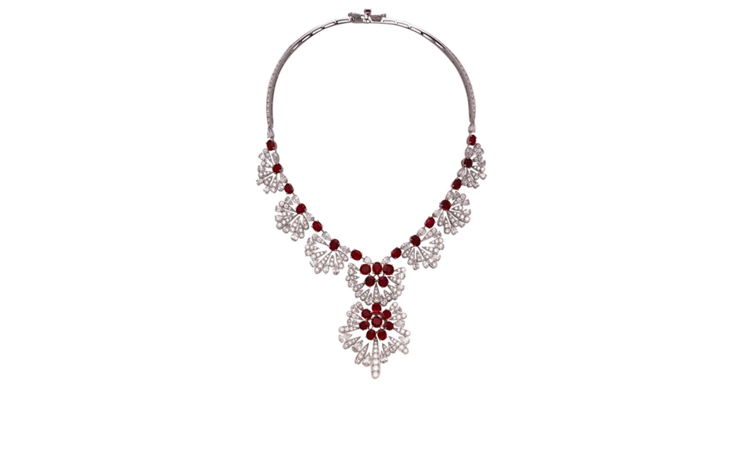VAN CLEEF & ARPLES. Jazz necklace in white gold, oval-cut rubies, round pear shaped diamonds. POA