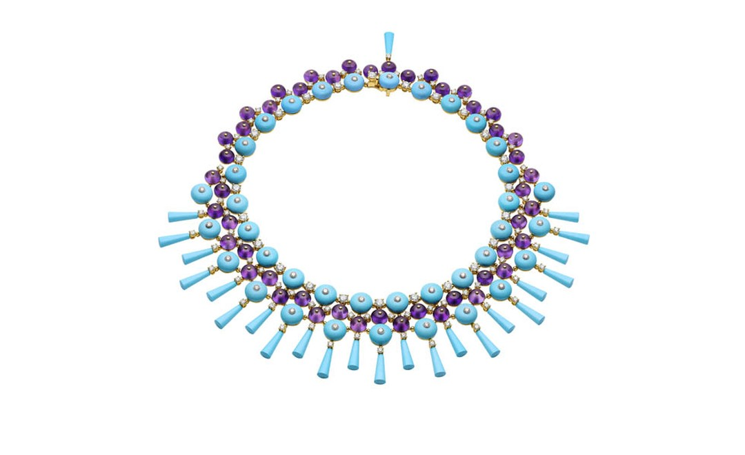 Bulgari. High Jewellery in yellow gold with fancy shaped turquoises, amethyst beads and round brilliant cut diamonds. POA.