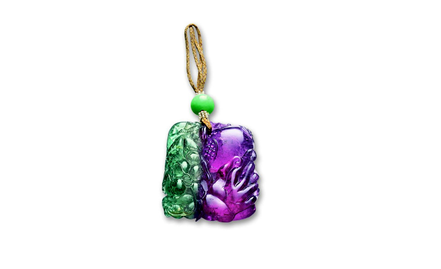 LOT 2518. Bi-coloured tourmaline and jadeite bead pendant, late quing dynasty EST 95,000 - 120,000 HKD. LOT SOLD 150,000 HKD