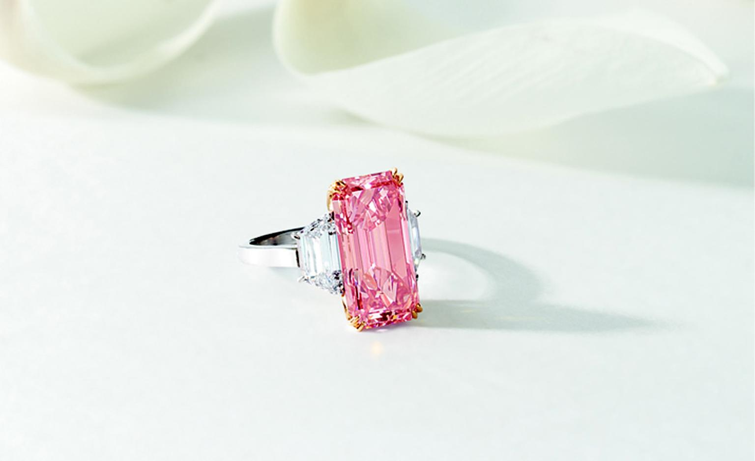 LOT 2859. Highly important and exceptionally rare fancy vivid pink diamond and diamond ring. EST 100,000,000 - 150,000,000 HKD