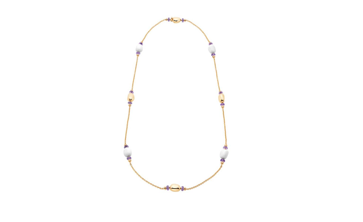 Bulgari. Mediterranean Eden pink gold sautoir necklace mounting white ceramic and gold nuggets, and amethyst beads. Price from £9.700,00