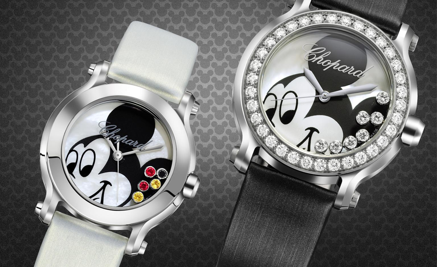 Happy Mickey Watches. Left: Stainless steel, mother-of-pearl,  black diamonds, yellow sapphires, rubies and yellow sapphire set on the crown. Price from £3,350. Right: stainless steel, mother-of-pearl, diamond-set bezel and mobile diamonds, with...