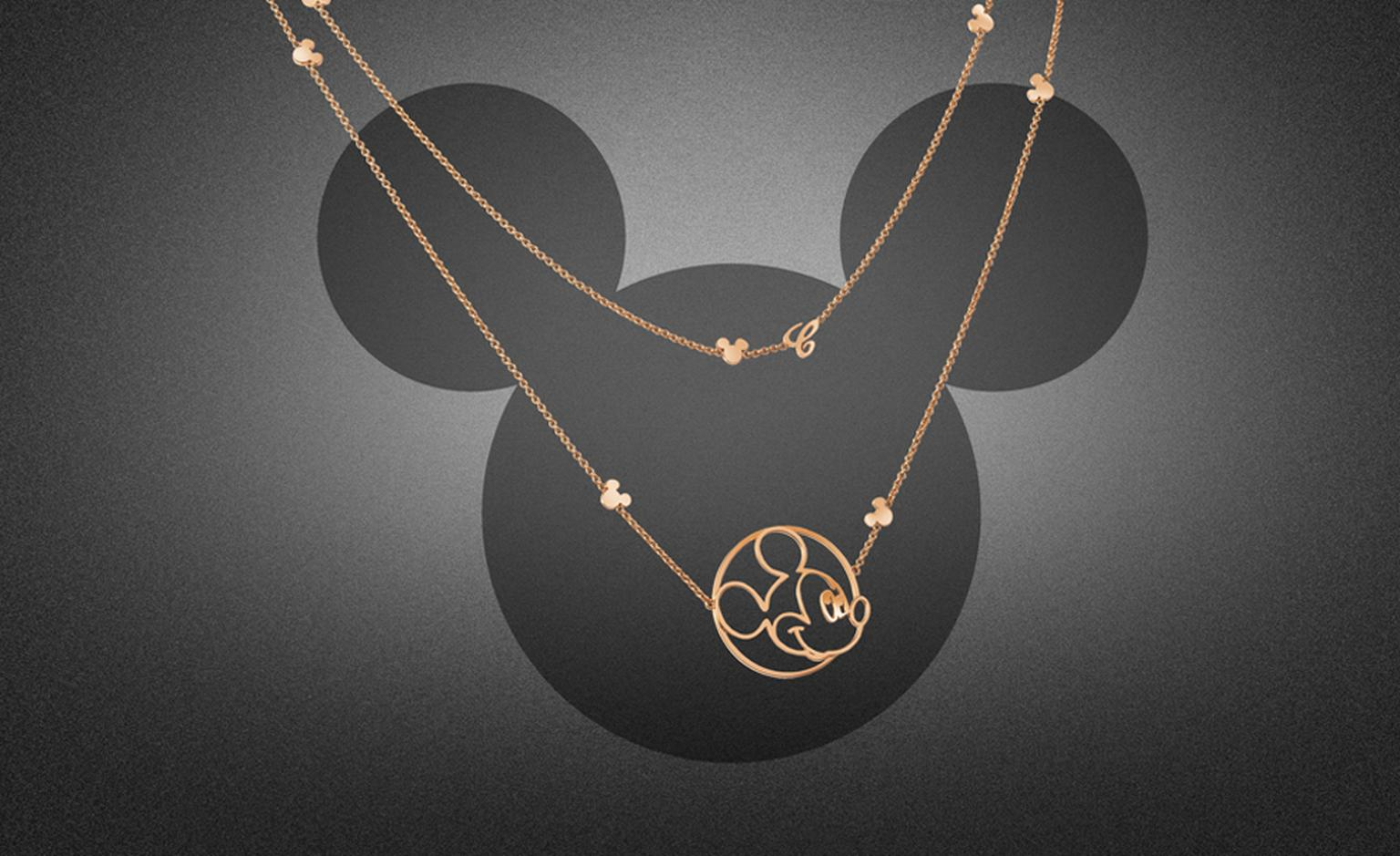 Happy Mickey long pendant. In rose or white gold with 2 mobile diamonds and a Mickey Mouse silhouette. Price from £3,840