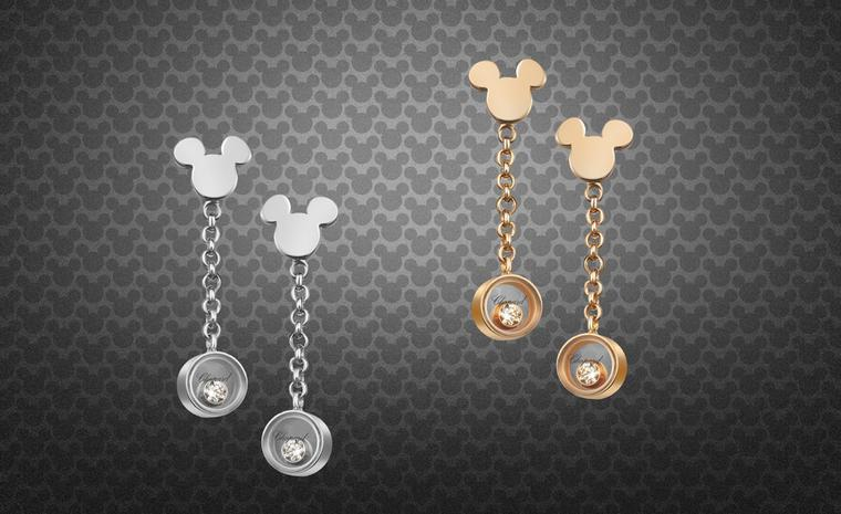 Chopard Happy Mickey earrings in rose or white gold, each with a mobile diamond.
