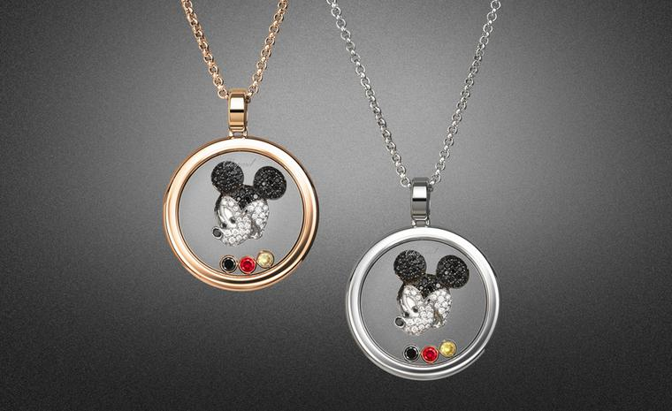 Chopard Happy Mickey pendants in rose or white gold, each with a mobile white and black diamond and ruby.