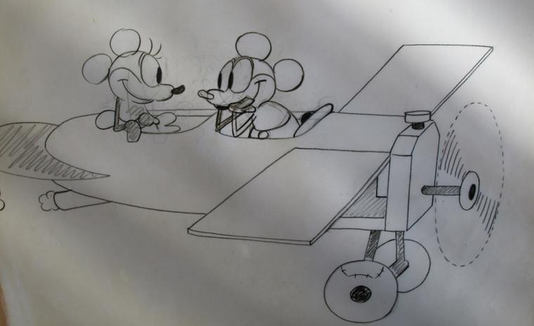 An early sketch of Mickey Mouse and Minnie in a propeller plane.
