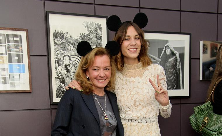 'Ear, 'ear. Caroline Scheufele, co-President of Chopard, with Alexa Chung.