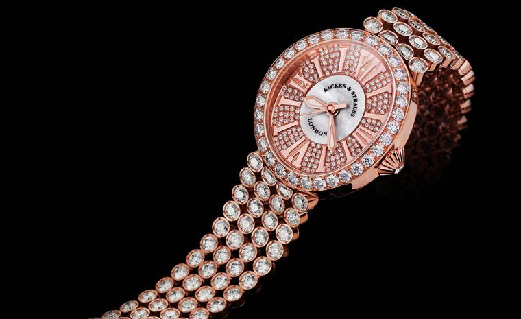 Backes & Strauss Regent Princess in rose gold with 326 ideal-cut diamonds weighing close to23 carats of diamonds in the bracelet and case.