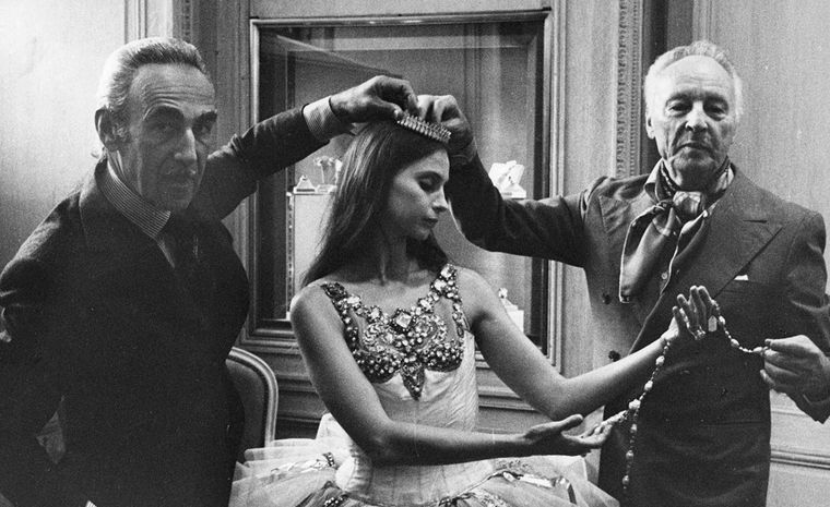 Pierre Arpels, Suzanne Farrell and George Balanchine at Van Cleef & Arpels Place Vendome boutique 1976.
