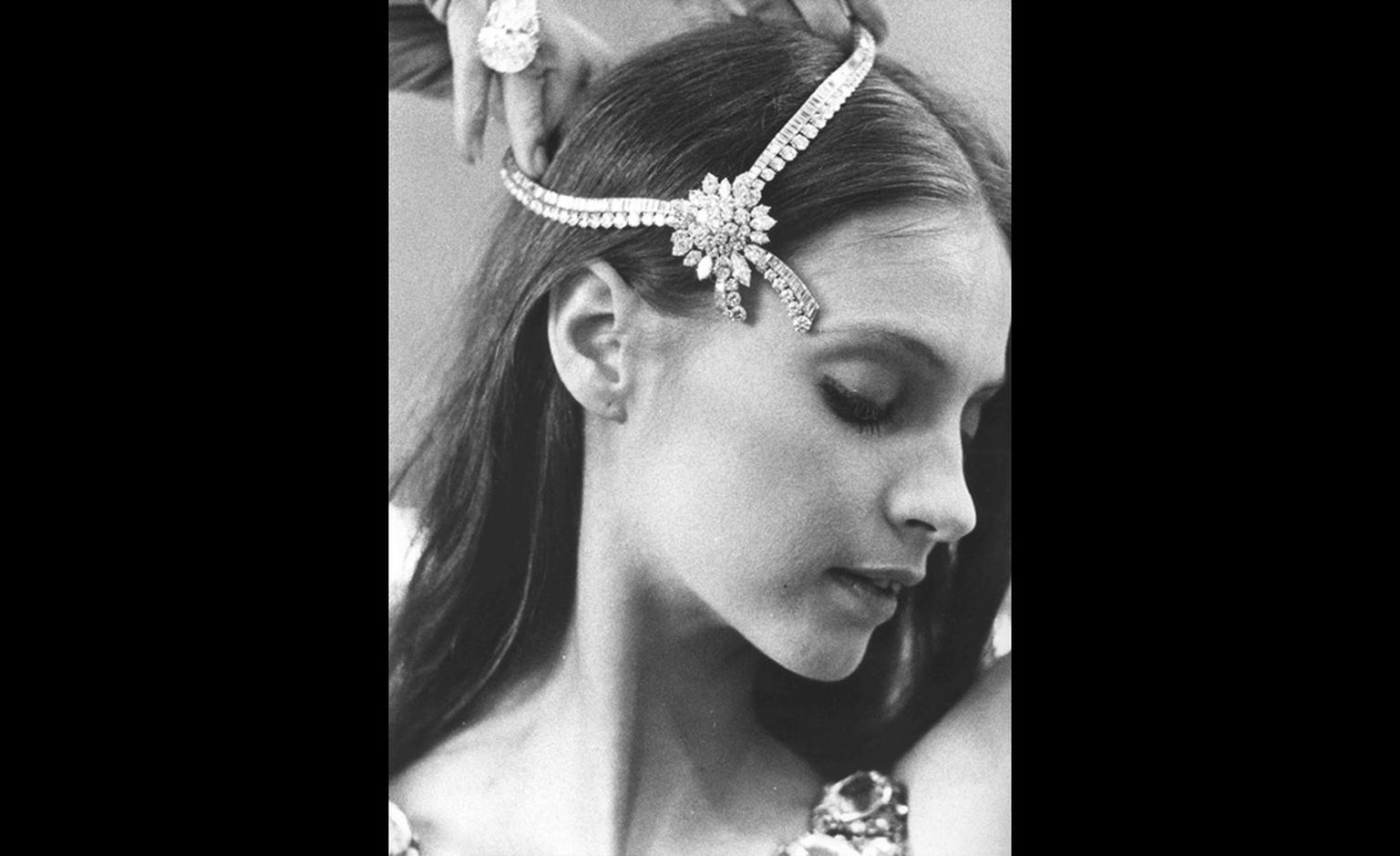 "Suzanna Farrell wearing real Van Cleef & Arpels diamond necklace. She danced the lead role in 'Diamonds' from Balanchine's ""Jewels' ballet."