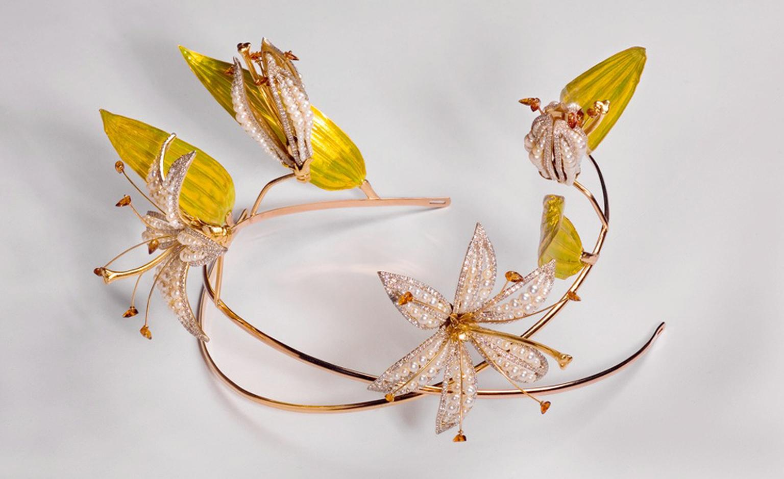 ARK, lilies, 2007, madeira  citrine, 18 carat gold and enamelled 24 carat gold leaves. POA.