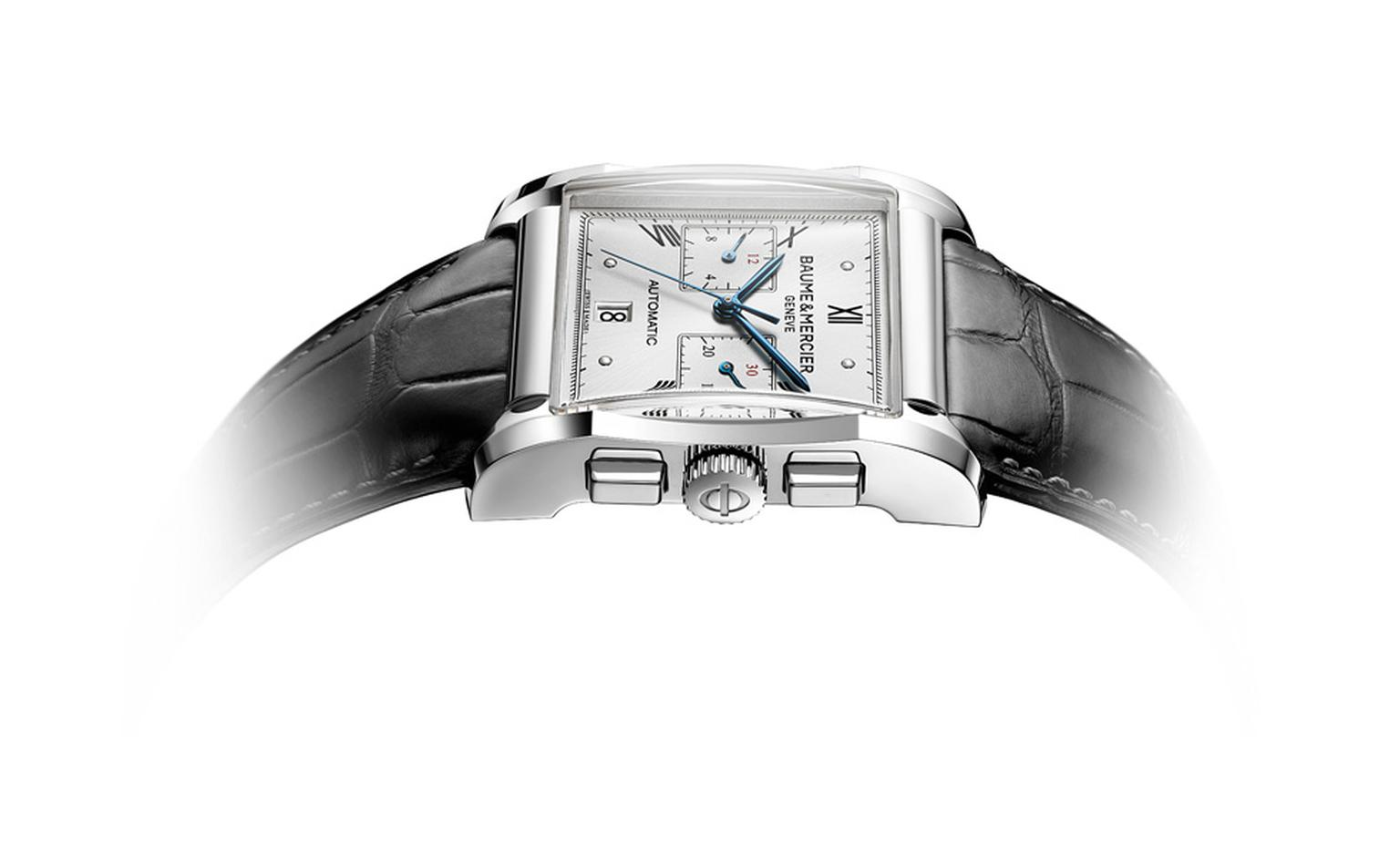 Baume et Mercier Hampton chronograph for men: stainless steel case with automatic movement on leather strap. £5,960.