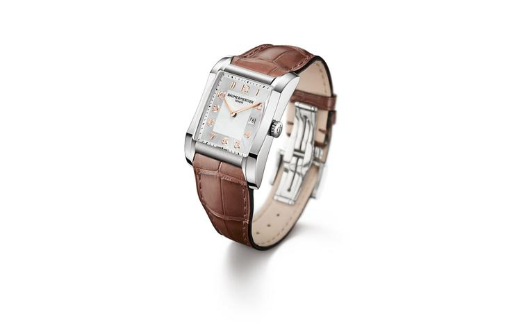 Baume et Mercier Hampton for women: stainless steel case with quartz movement on leather strap. £1,780