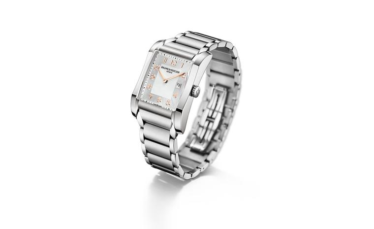 Baume et Mercier Hampton for women: stainless steel case with quartz movement on stainless steel bracelet. £1,860.