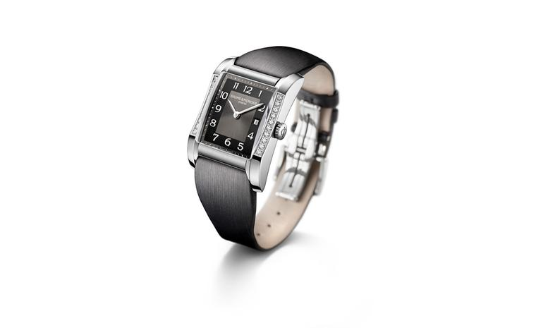 Baume et Mercier Hampton for women: stainless steel case with quartz movement on strap. £2,990