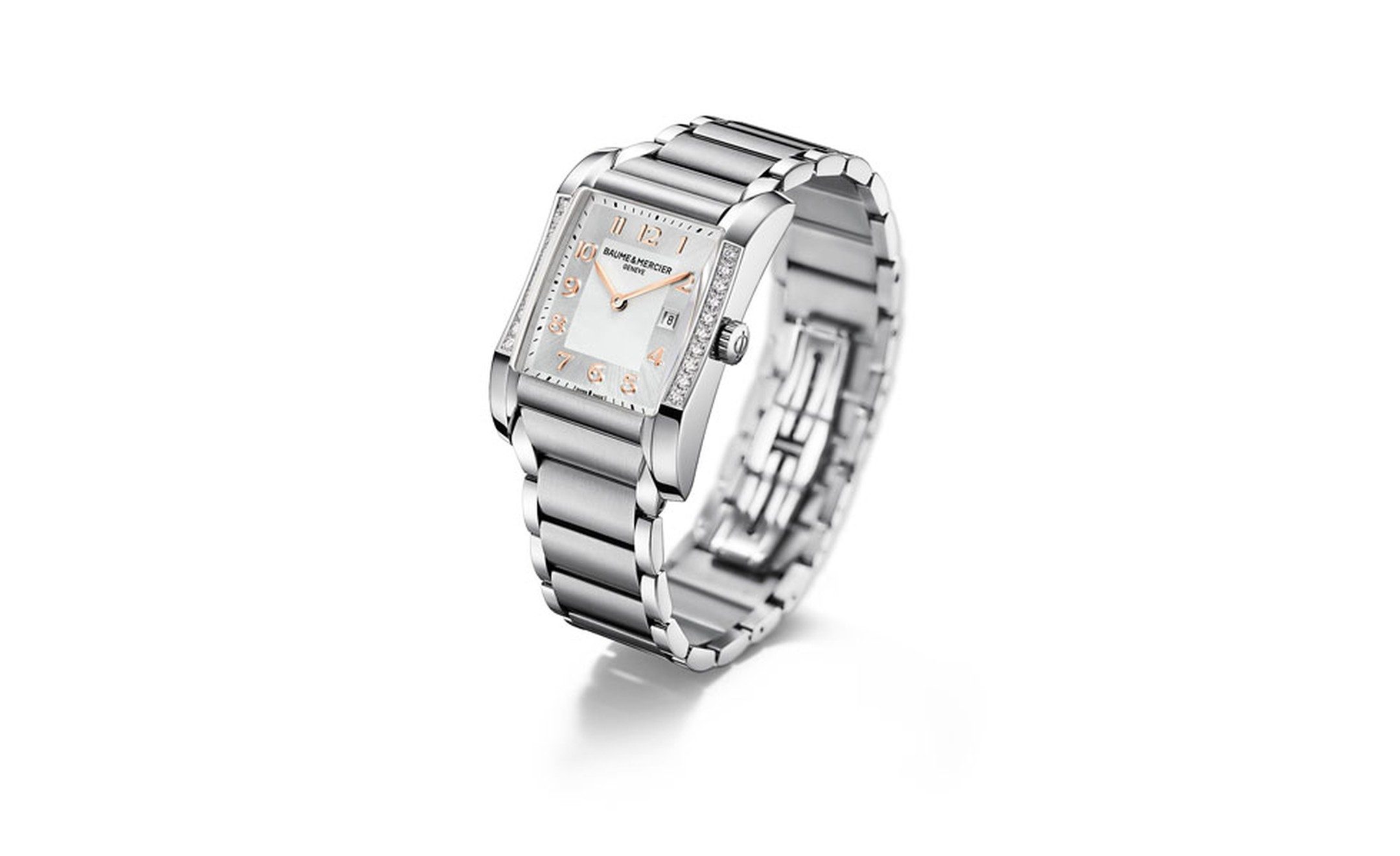 Baume et Mercier Hampton: stainless steel case with quartz movement on stainless steel bracelet. £3,170