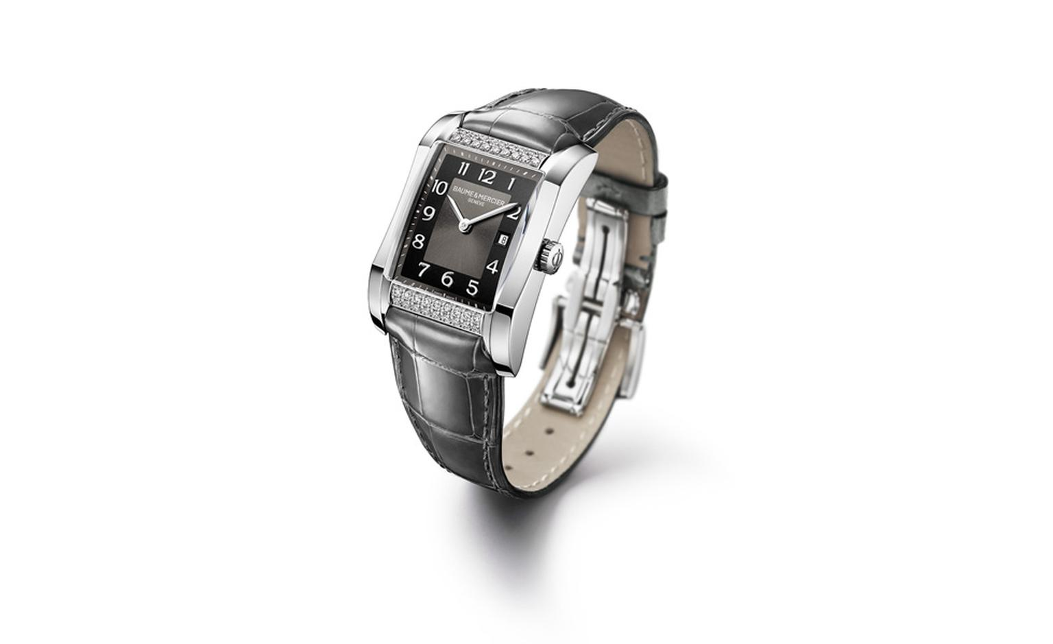 Baume et Mercier Hampton for women: stainless steel case with quartz movement on leather strap. £3,870.