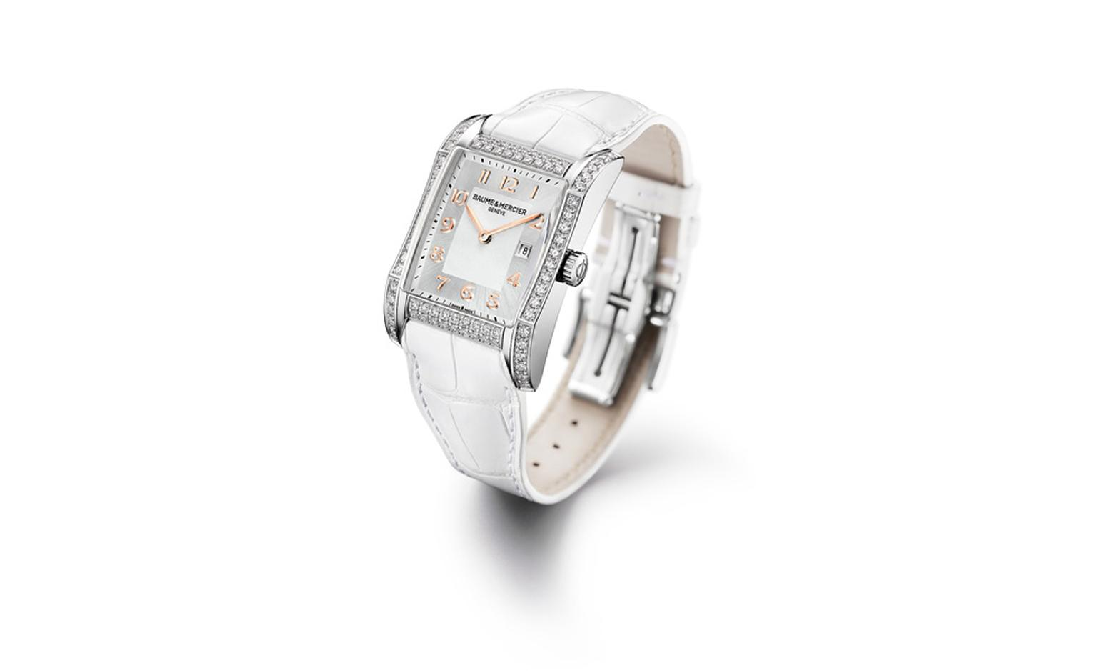Baume et Mercier Hampton: stainless steel case with quartz movement and diamond-set case on strap. £6,570