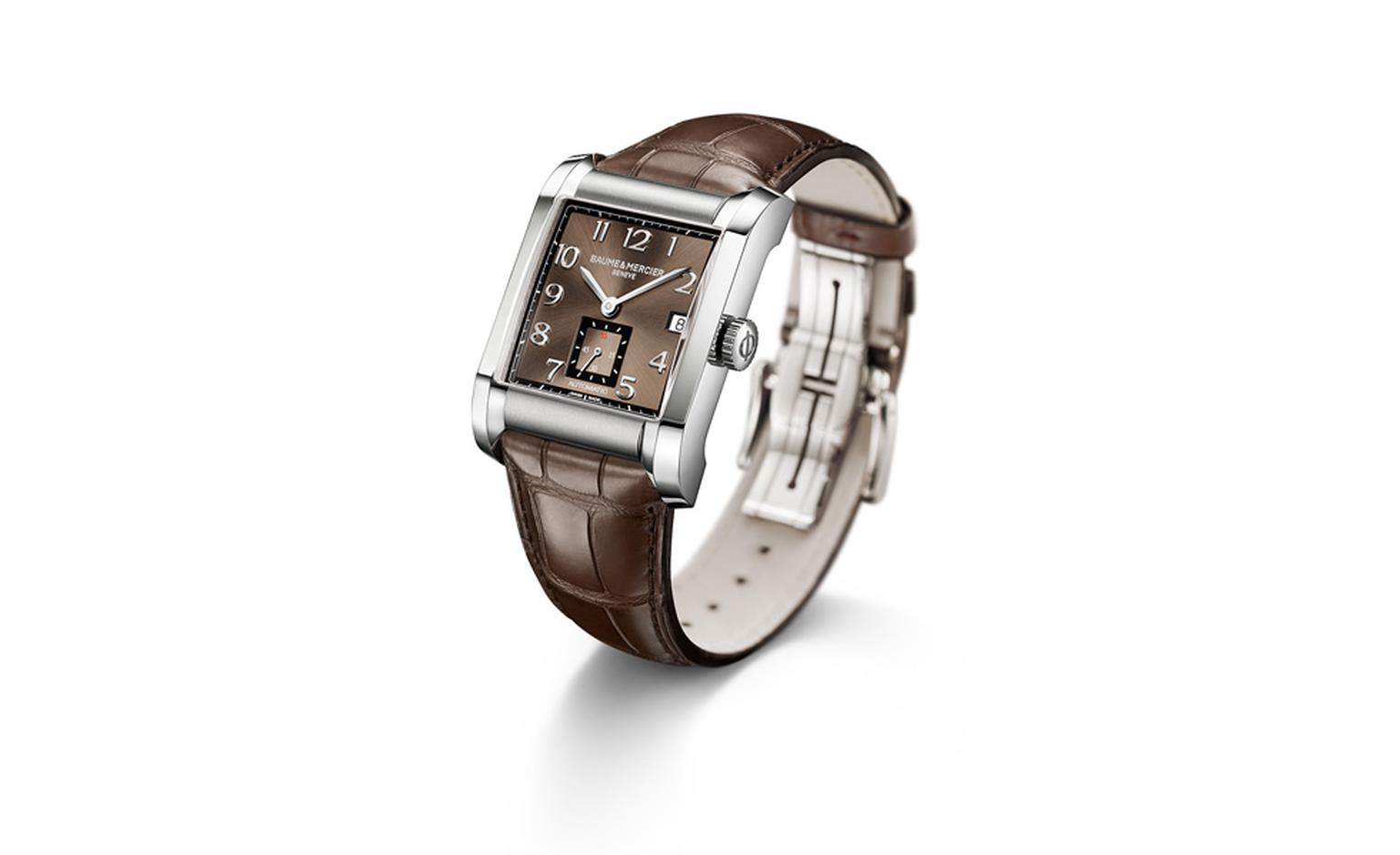 Baume et Mercier Hampton for men: stainless steel case with automatic movement on leather strap. £2,320