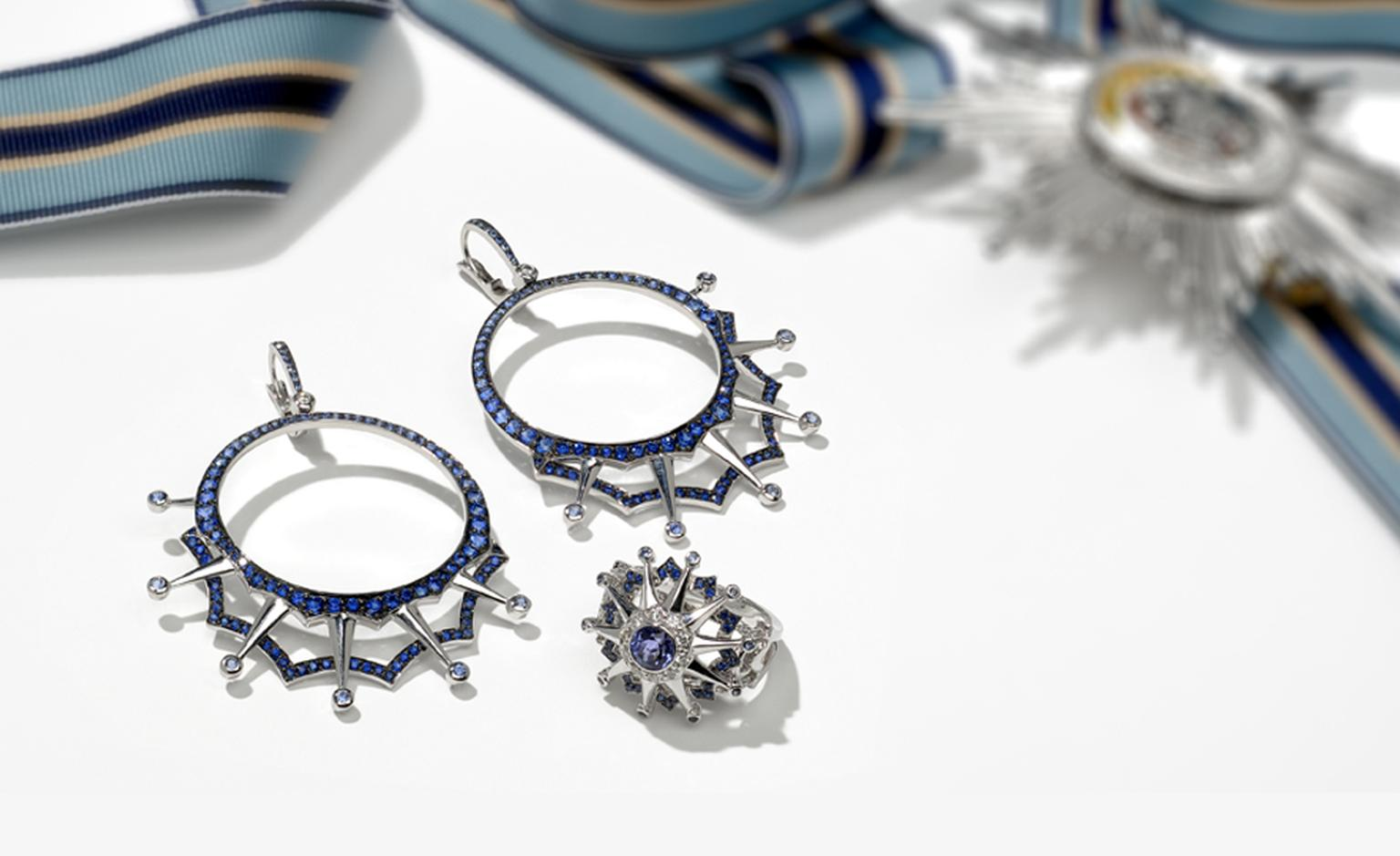 Star and Garter Collection by Garrard. Left: Blackened white gold and sapphire drop hoop earrings: Price from £7000. Right: White gold ring with tanzanite centre stone and paved with diamonds, sapphires and tanzanites: Price from £4800.