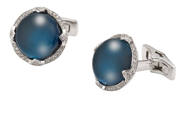 Star and Garter cufflinks . White gold set with London Blue Topaz. Price from £7000.