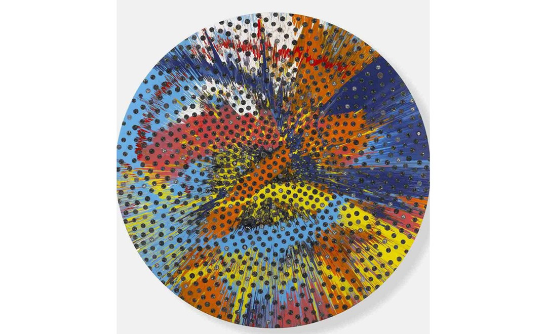 Beautiful Sunflower spin painting by Damien Hirst featuring discarded Panerai dials.