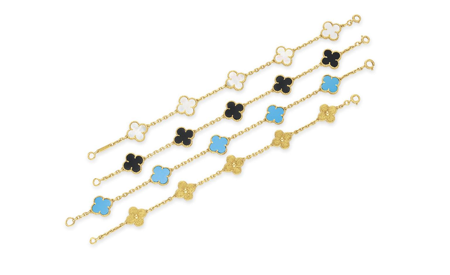 Van Cleef & Arpels. Yellow Gold Alhambra Bracelet, Turquoise and Yellow Gold Alhambra Bracelet, Mother of Pearl and Yellow Gold Alhambra Bracelet, Onyx and Yellow Gold Alhambra Bracelet. © Christie's Images 2011. POA.