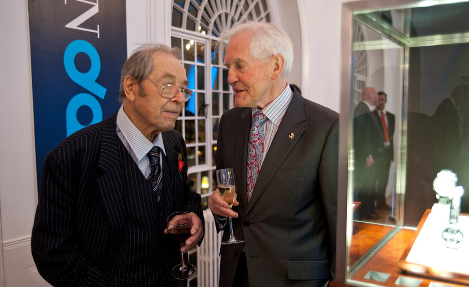 The UK's greatest watchmaker, the late Dr George Daniels (left) at Salon QP 2010 with John C Taylor.
