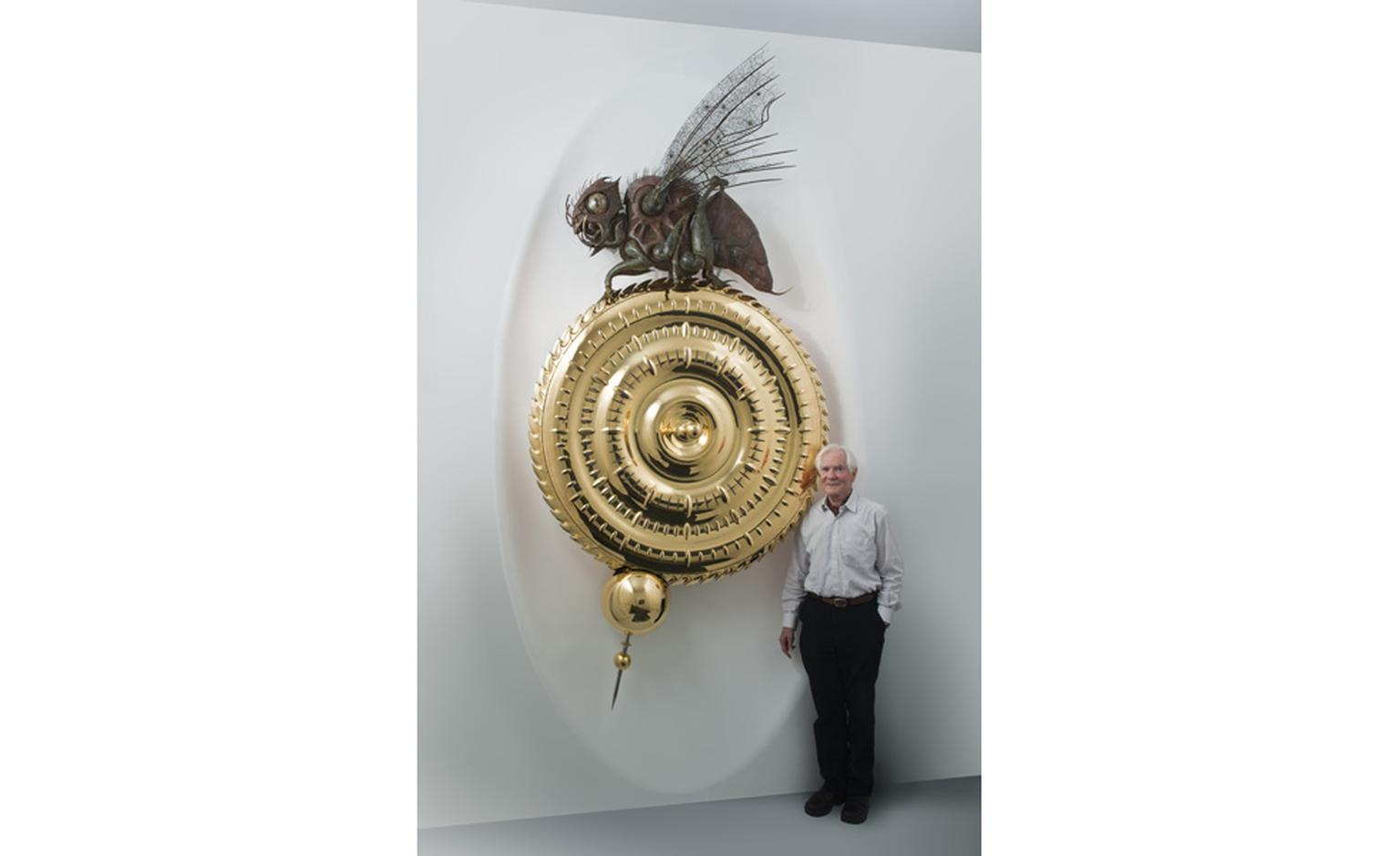 Inventor John C. Taylor with his Midsummer Chronophage that will be on show at SalonQP 2011.