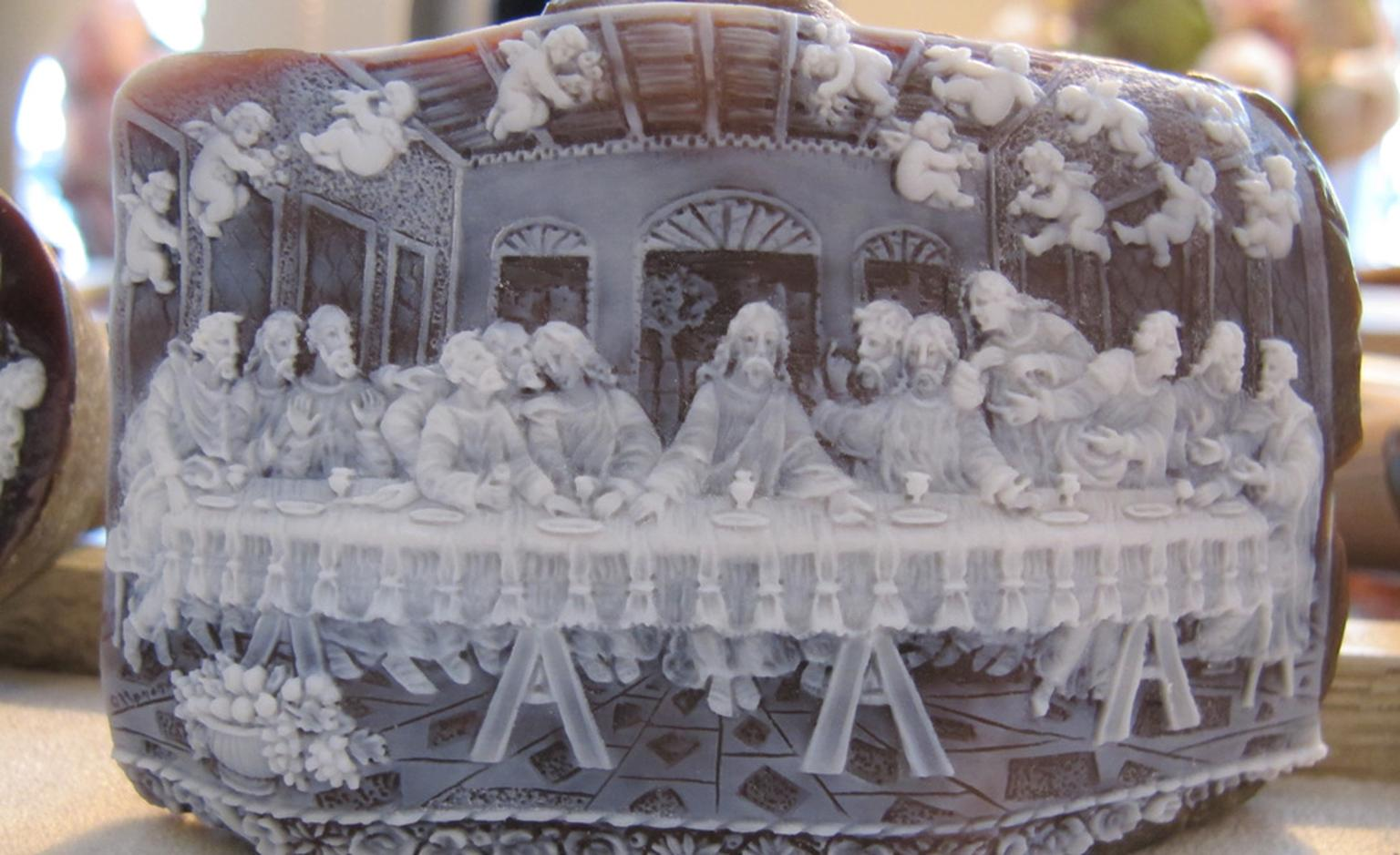 "An example of Pasquale Ottaviano's exquisite worksmanship in this miniature cameo of ""The Last Supper.'"
