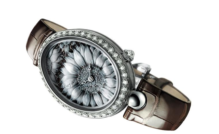Breguet Reine de Naples watch with sunflower cameo dial.