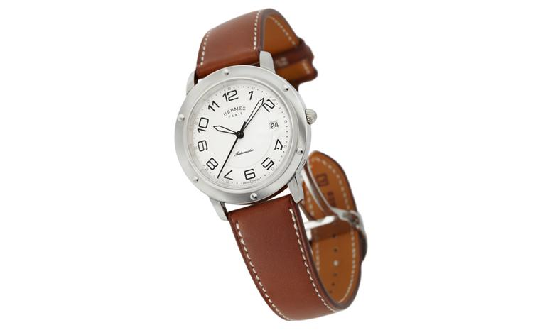 Hermès Clipper Automatic on Barenia leather strap with overstitching.