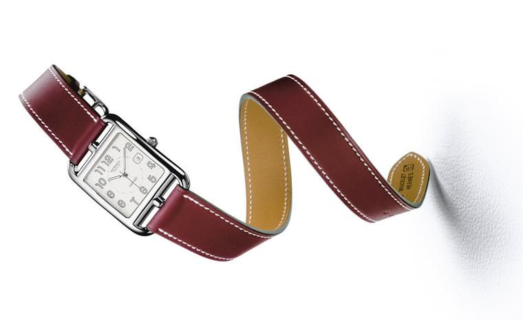 Hermès Cape Cod on a red leather strap.