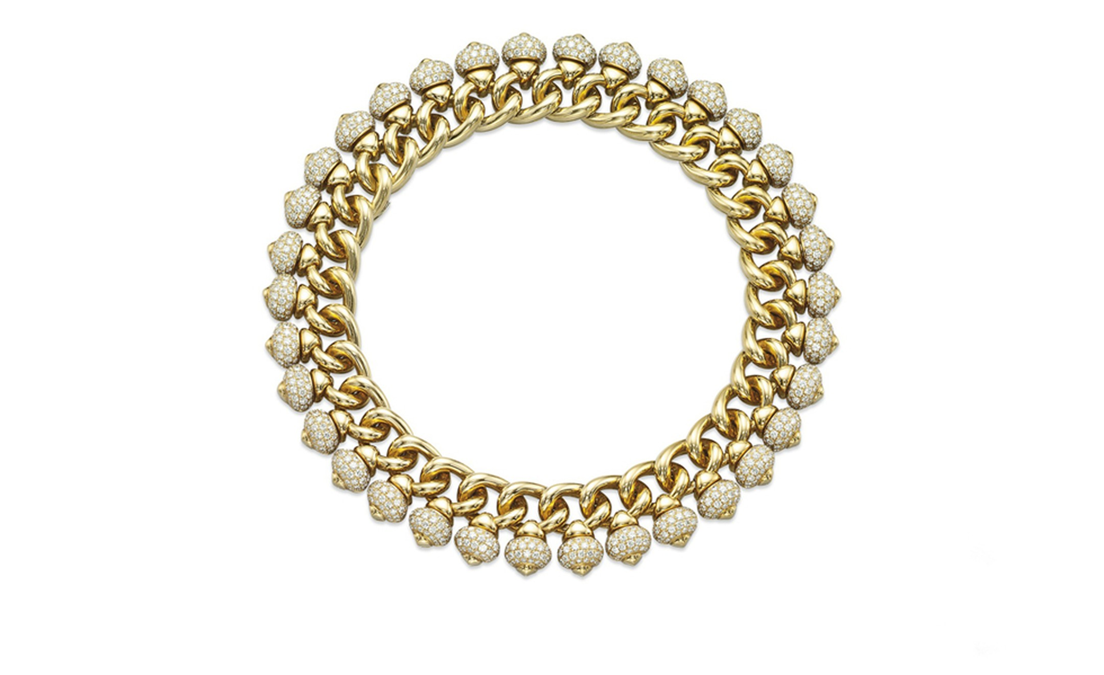 A diamond and yellow gold necklace, by Bulgari. Estimate: US$ 70,000-90,000