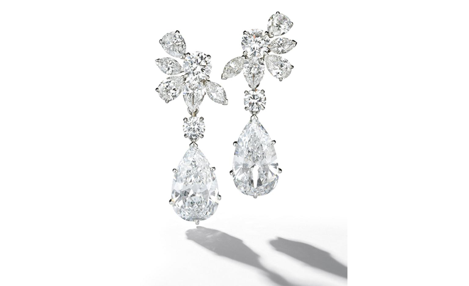 A pair of detachable 7.60 & 7.57cts pear-shaped Diamond & diamond ear pendants, by Van Cleef & Arpels. Estimate: SFr. 1,350,000-1,800,000 (US$ 1,500,000-2,000,000)