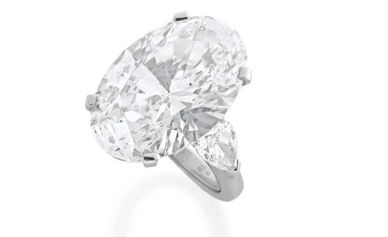 An oval cut diamond ring by Graff weighing 24.30 carats, of D colour and Internally Flawless clarity. Estimates SFr 2,600,000- 3,200,000 (US$ 2,900,000- 3,500,000)