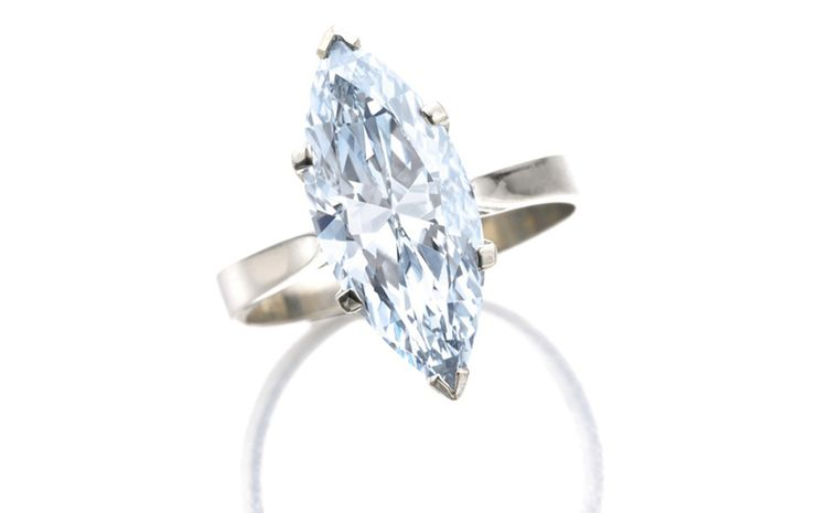 A 4.08 carat Fancy Blue marquise-cut diamond mounted as a ring. Estimate CHF 725'000 -  1'270'000 / US$ 800'000 – 1'400'000